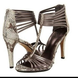 Vince Camuto Sexy Snakeskin Strappy Metallic Heels